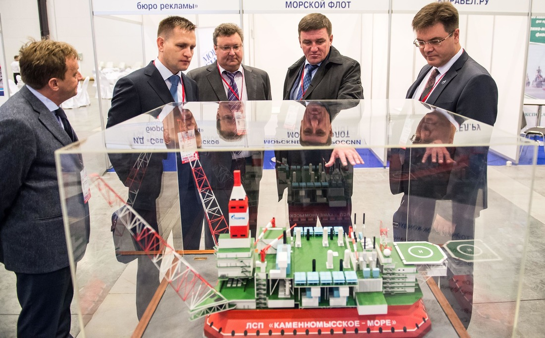 The model of an ice-resistant platform was exhibited at St. Petersburg International Gas Forum in 2016